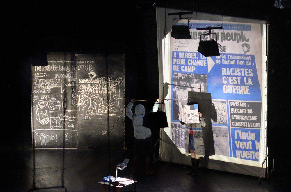 Lucie Nicolas et Lucie Valon en jeu dans ''Foucault 71''. (© Isabelle Fortuné)