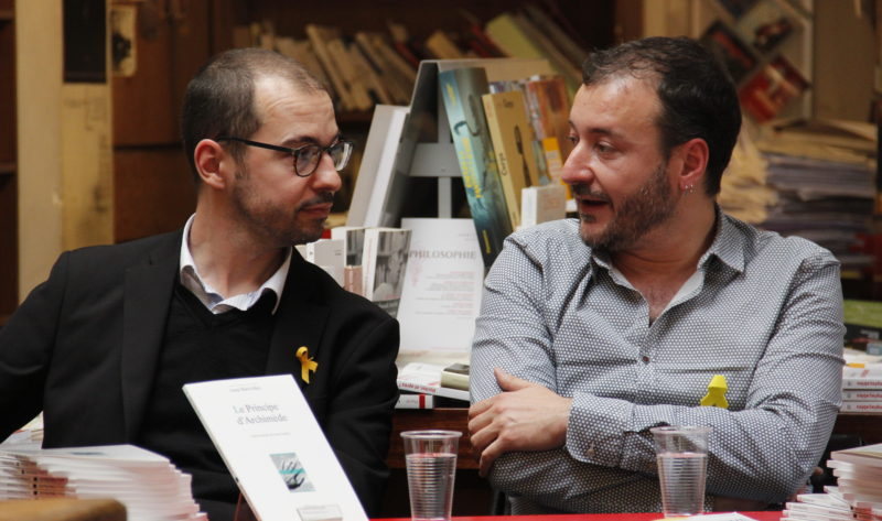 Laurent Gallardo et Josep Maria Miró à la librairie Palimpseste (crédits : Pierre Monastier)