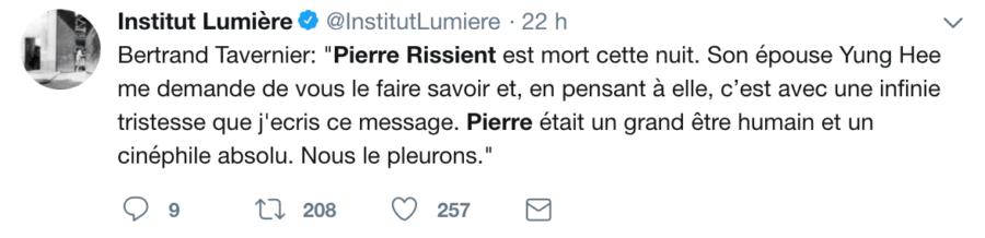 Institut Lumière - Bertrand Tavernier : hommage à Pierre Rissient