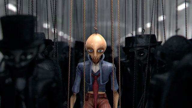 Graphisme superbe pour ce court-métrage vidéo sur un Paris totalitaire, peuplé de marionnettes