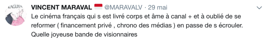 Tweet Vincent Maraval sur Canal+