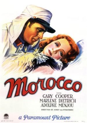 Josef von Sternberg, Morocco, avec Marlene Dietrich, Gary Cooper et Adolphe Menjou (affiche)
