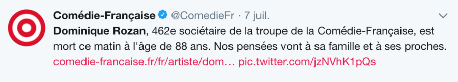 Comédie-Française sur Dominique Rozan