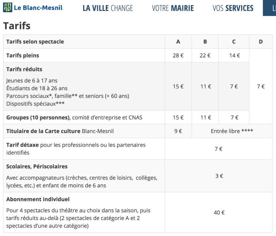 Théâtre du Blanc-Mesnil tarifs