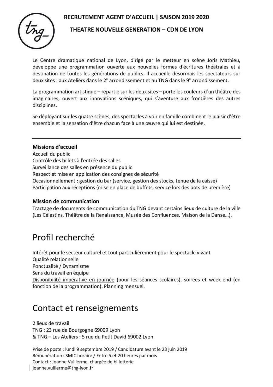 Théâtre Nouvelle Génération - CDN de Lyon recrute nouvelle équipe d'agents d'accueil