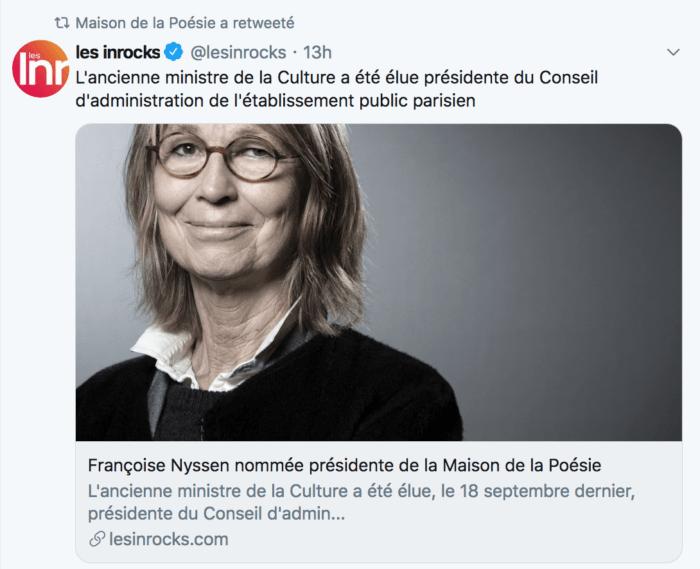 Françoise Nyssen nommée présidente de la Maison de la Poésie