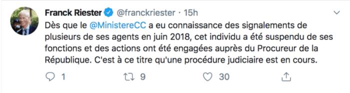 Franck Riester Tweet agression sexuelle 1