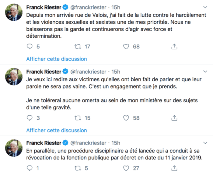 Franck Riester Tweet agression sexuelle