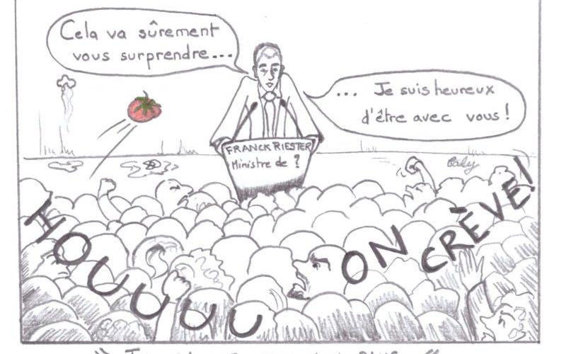 dessin de Caly Franck Riester ministre tension avec les artistes
