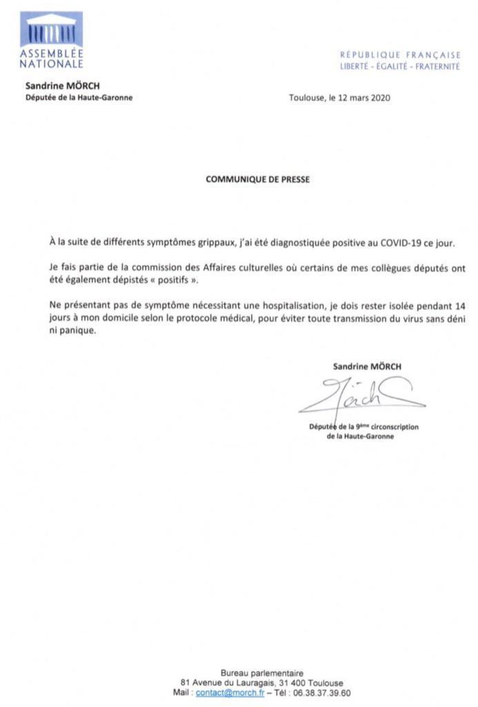 Lettre de Sandrine Mörch - coronavirus (12.03.2020)