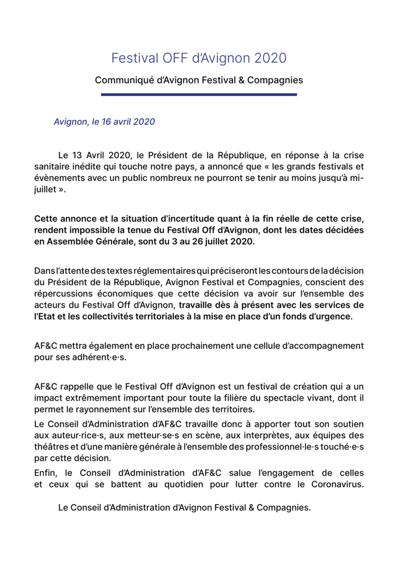 Annulation Festival Off