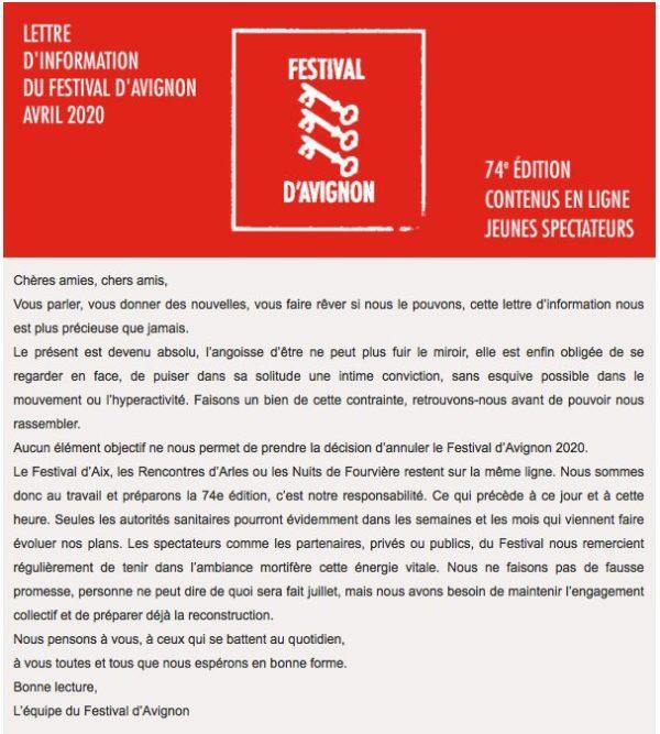Festival d'Avignon communiqué